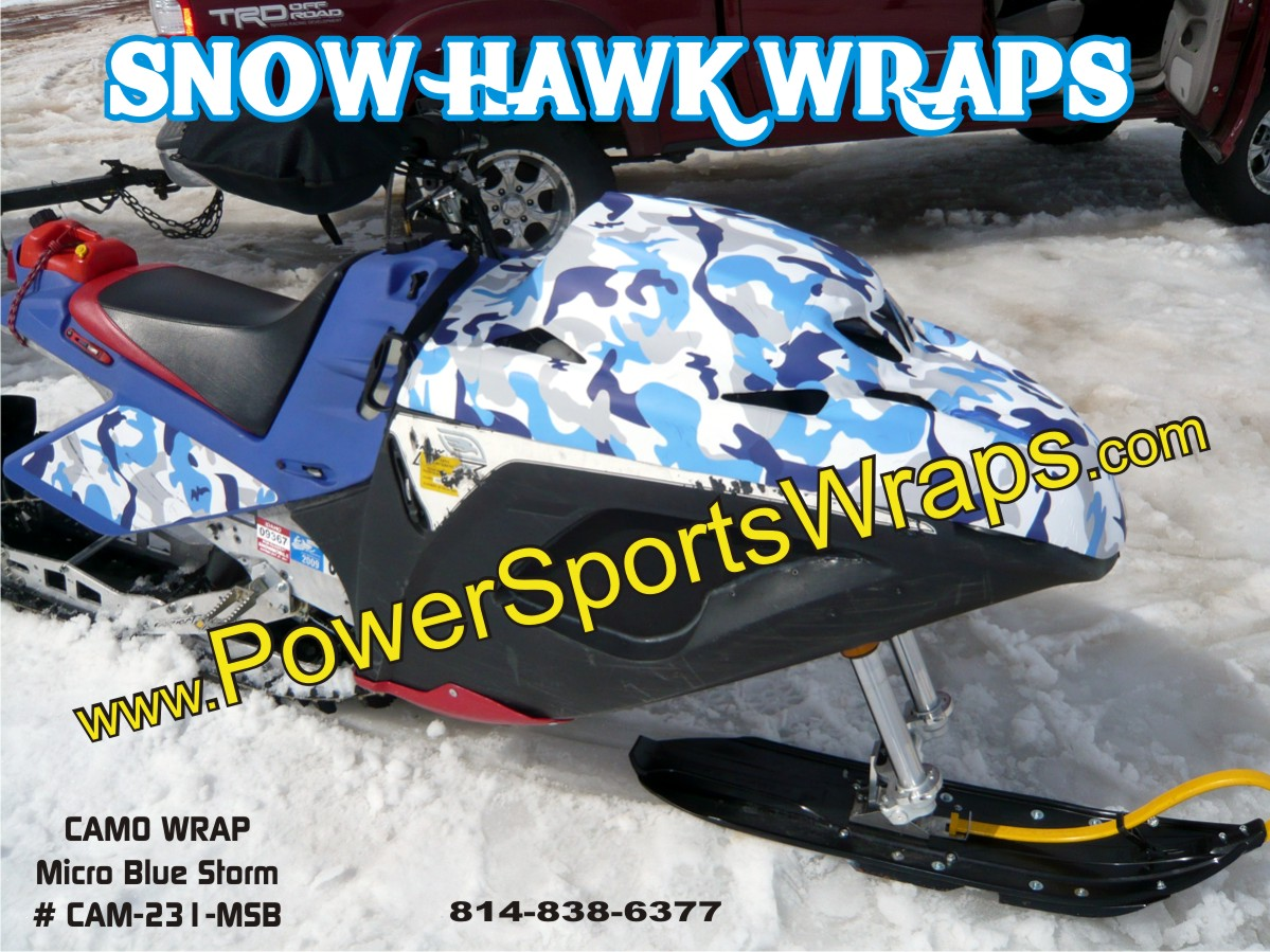 Snow Hawk wraps, Snow Hawk decals, Snow Hawk, Snow Hawk racing, snowmobile decals, snow hawk vinyl wraps, Snowmobile wraps for all brands over 200 patterns call 814-838-6377