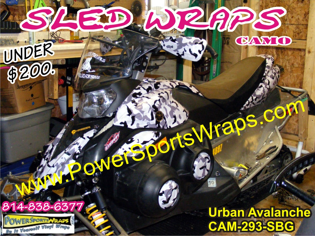 2007 yamaha phaser snow camo vinyl covering snomobile wrap for under $200.00
