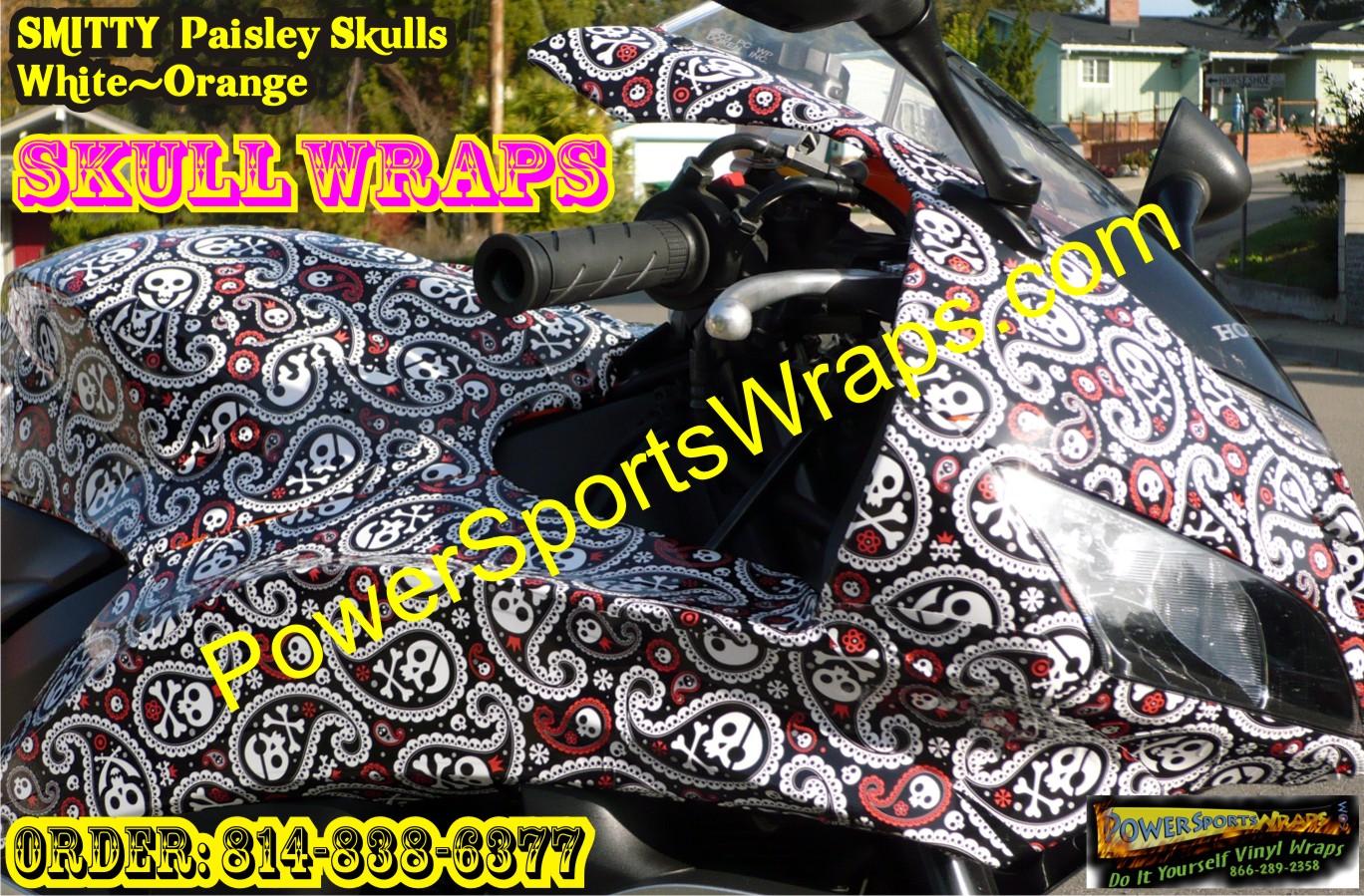 Honda Cbr Paisley Skulls Vinyl Wrap Bike Wraps
