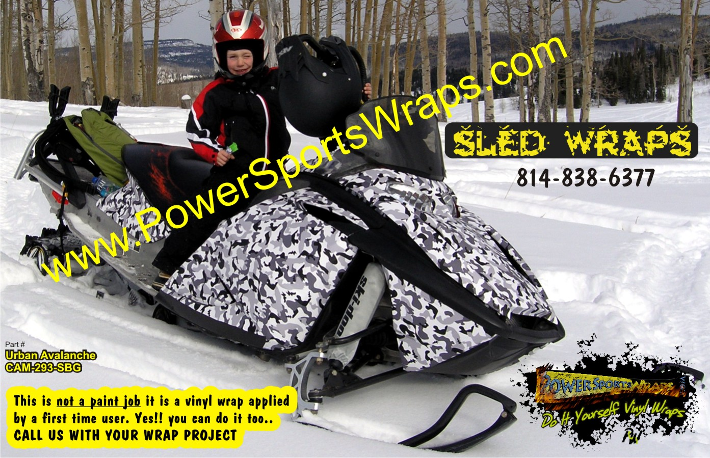 Camo vinyl for snowmobiles, custom colors, do it yourself wraps www.powersportswraps.com 814-838-6377
