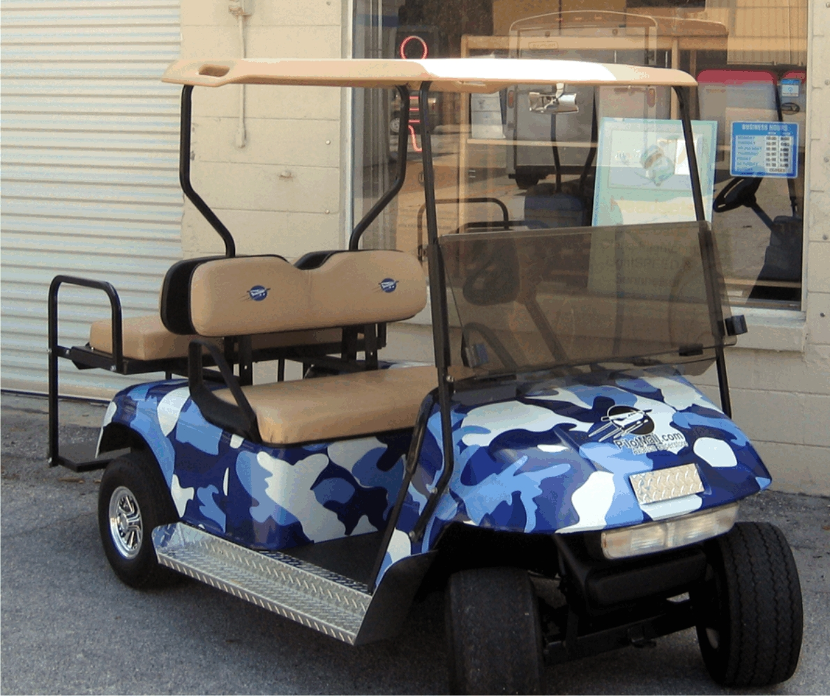 blue camo golf cart wrap