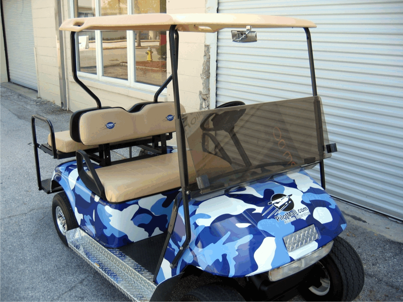 urban blue gray camouflage cart wrap