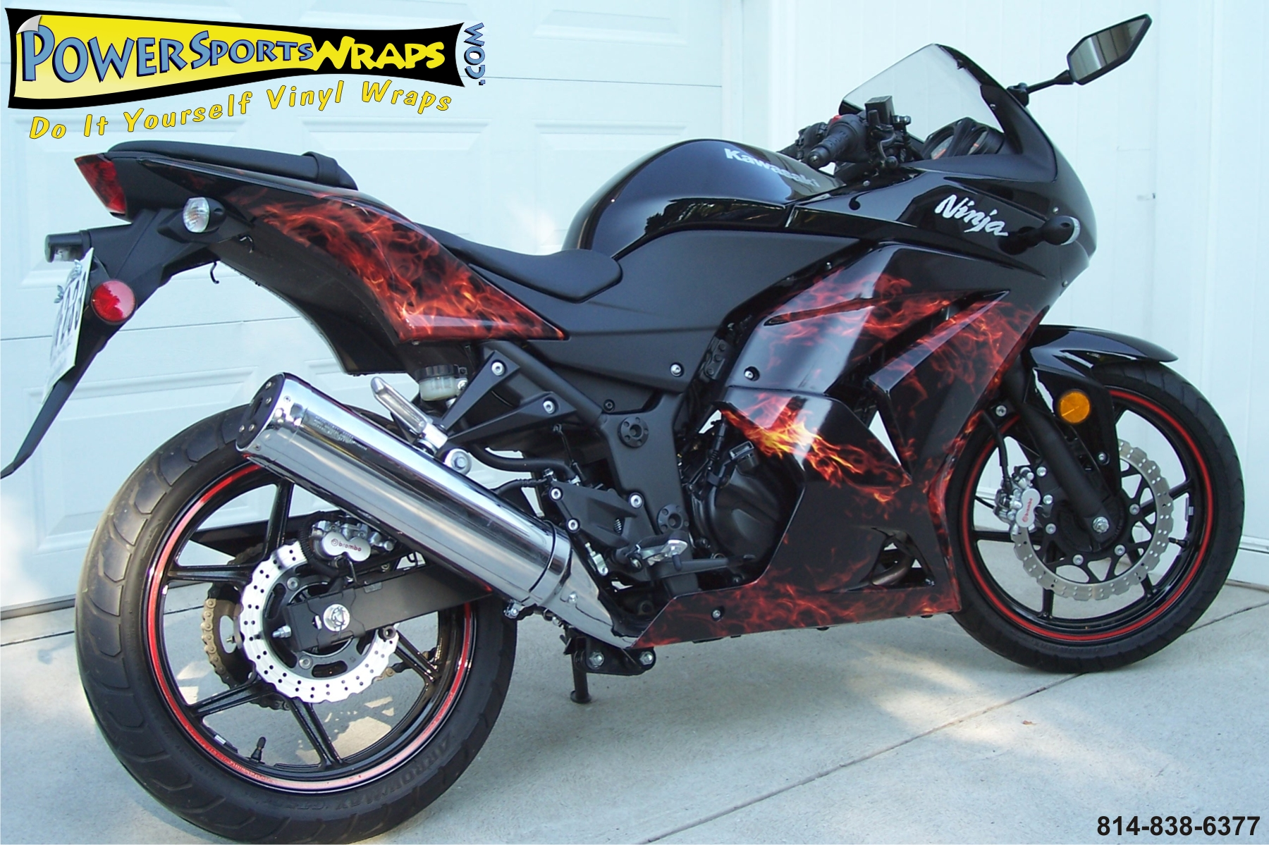Amazing Digital Print True Flame Fire Natural Wrap On A Brand New 2008 Kawasaki Ninja 250r How Can We Go Over All Those Contours