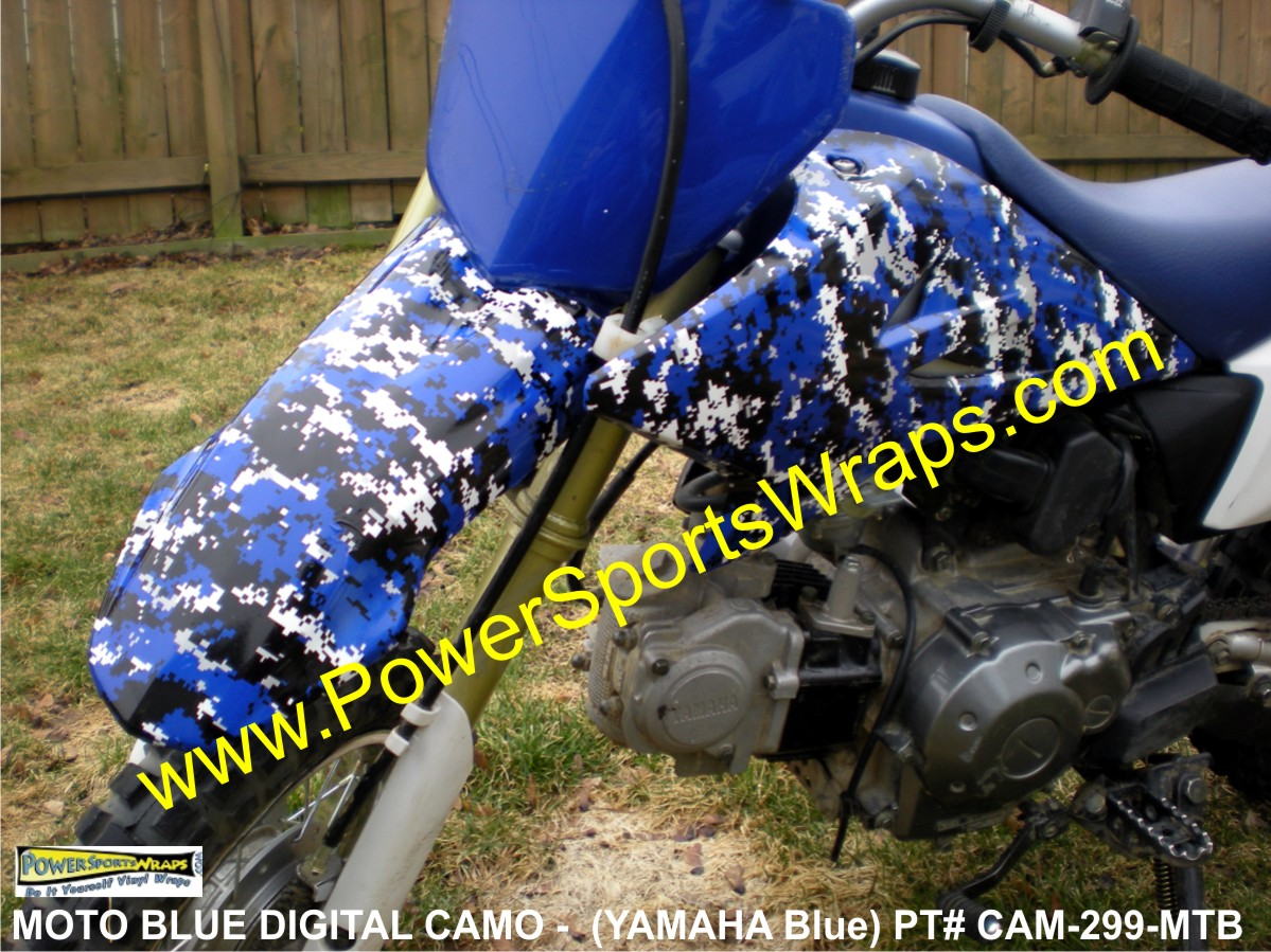mini bike decals, stunt bike, stunter camo, stunter, stunt rider, fmx, freestyle, YAMAHA, YAMAHA CAMO, YAMAHA BLUE CAMO, DIGITAL CAMO, BLUE DIGITAL CAMO, CAMOUFLAGE BLUE, CAMOFLAGE, MOTORCYCLE, DIGITAL CAMO, YAMAHA DECALS, YAMAHA CAMO DECALS, BLUE CAMO DECAL, PIT BIKE DECALS