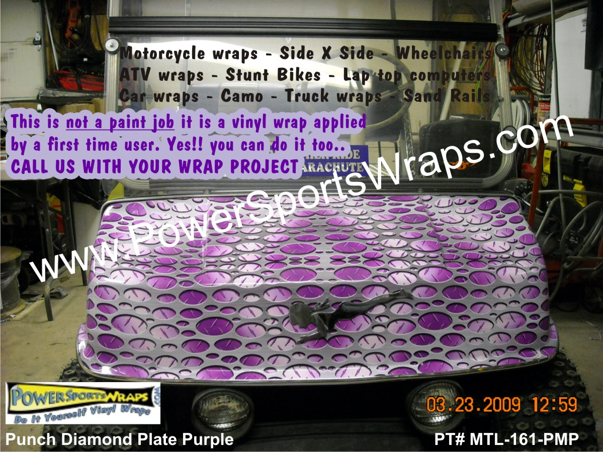 Punch metal plate purple golf car wrap