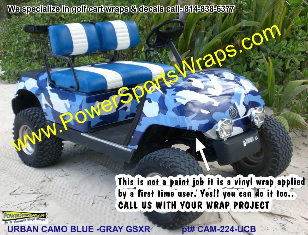 Urban Camo BlueGray Golf Car Wrap GOLF CAR DECALS GOLF CART - Camo custom vinyl decals for trucks