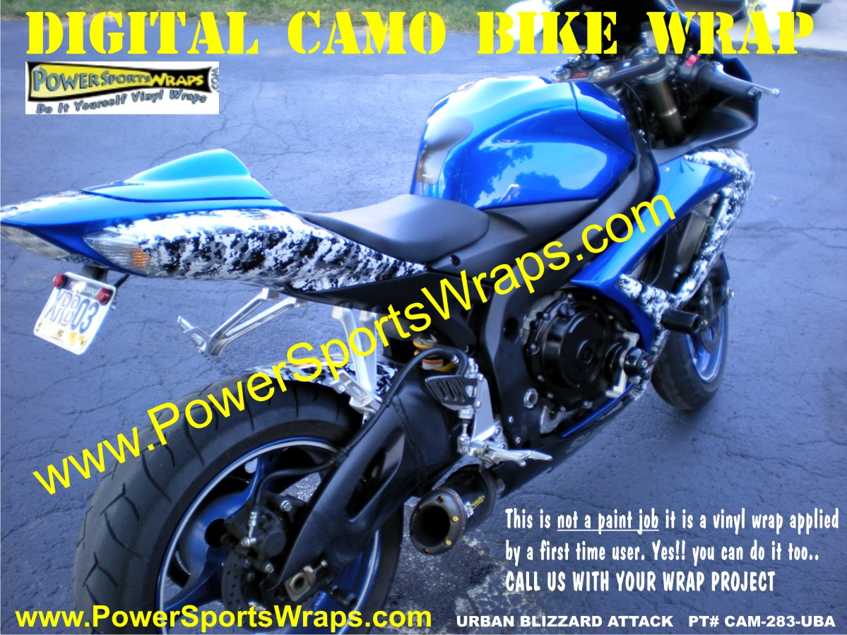 Digital camo bike wrap on suzuki GSXR 600 from PowerSportsWraps.com