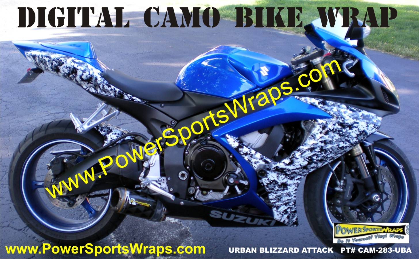 custom digital camo bike wrap from powersportswraps.com 814-838-6377