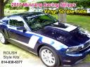Roush Mustang Racing stripe kit, Roush Check stripe with hood scoupe stripe custom designed