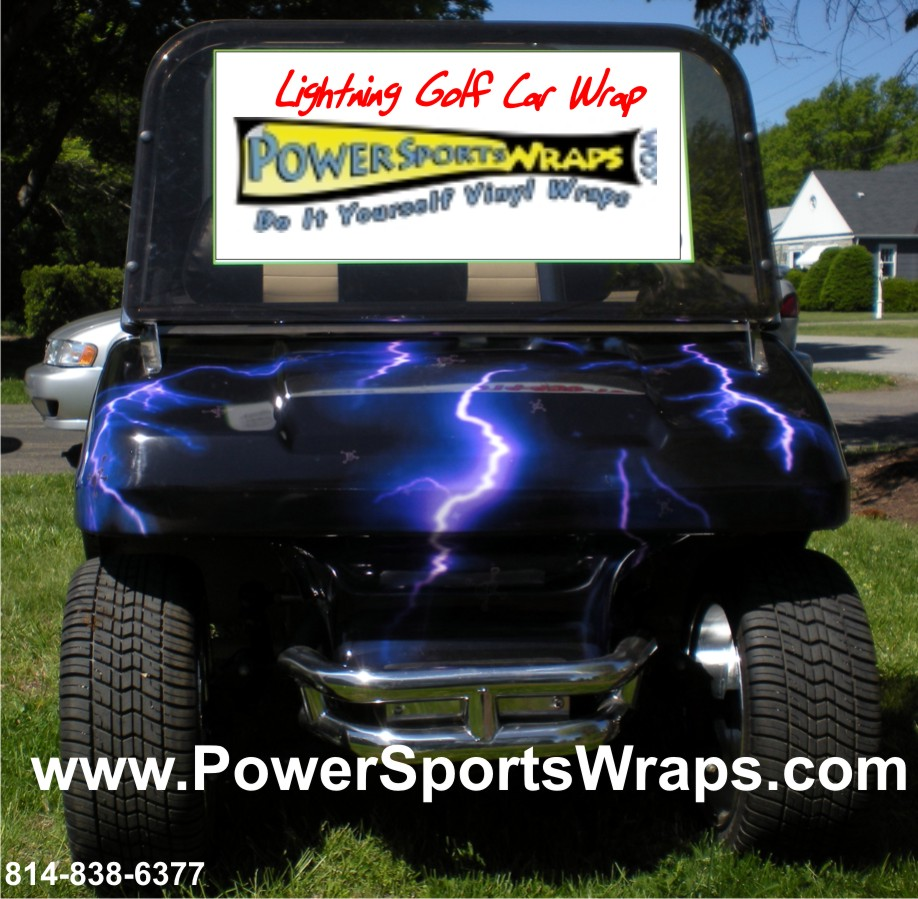 Lightning purple golf car vinyl wrap golf car decals wraps golf car decal wrap in vinyl just peel stick do it yourself don solutioingenieria Choice Image
