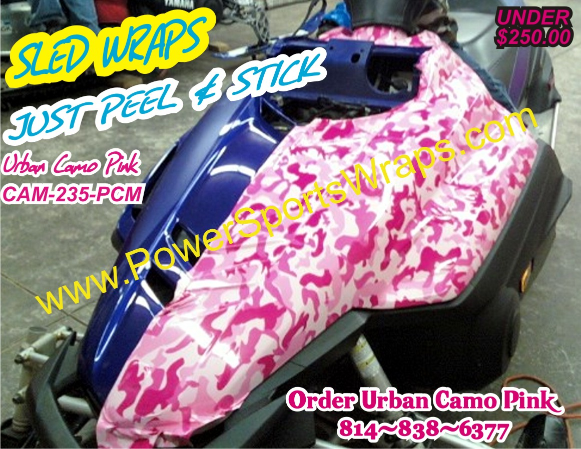 YAMAHA RS VECTOR Pink Camo Vinyl Covering Sled Waps - Pink motorcycle helmet decalscustom vinyl decals part