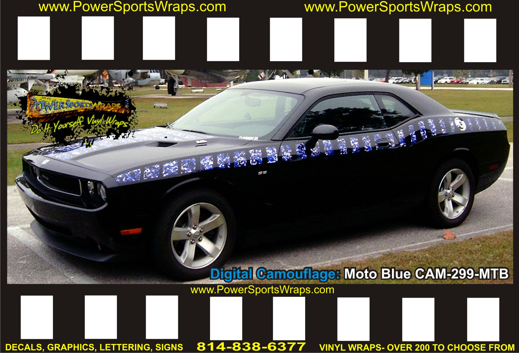 DODGE CHALLENGER CUSTOM DIGITAL CAMO GRAPHICS MOTO BLUE - Camo custom vinyl decals for trucks