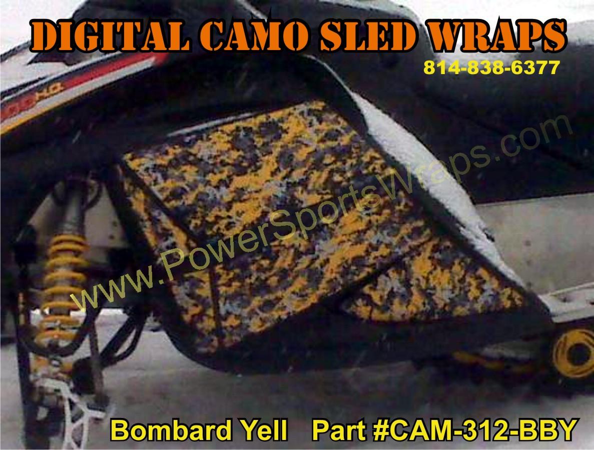 Digital camo, digi camo, digital camouflage, digital camouflage, sled wrap, snowmobile, snomobile decals, snomobile wrap, yellow camo, camo cover, digi cam, digy camo, Ski Doo, ski doo decal, ski doo wrap, sled wraps