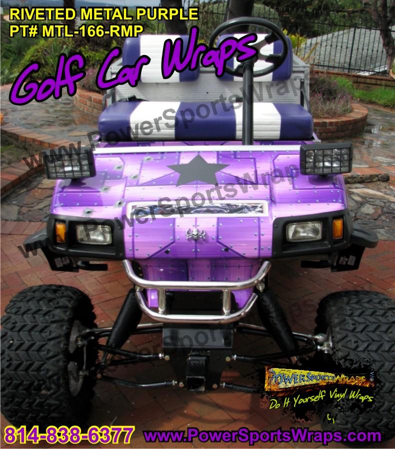 Golf Cart Vinyl Wrap Riveted Metal Purple
