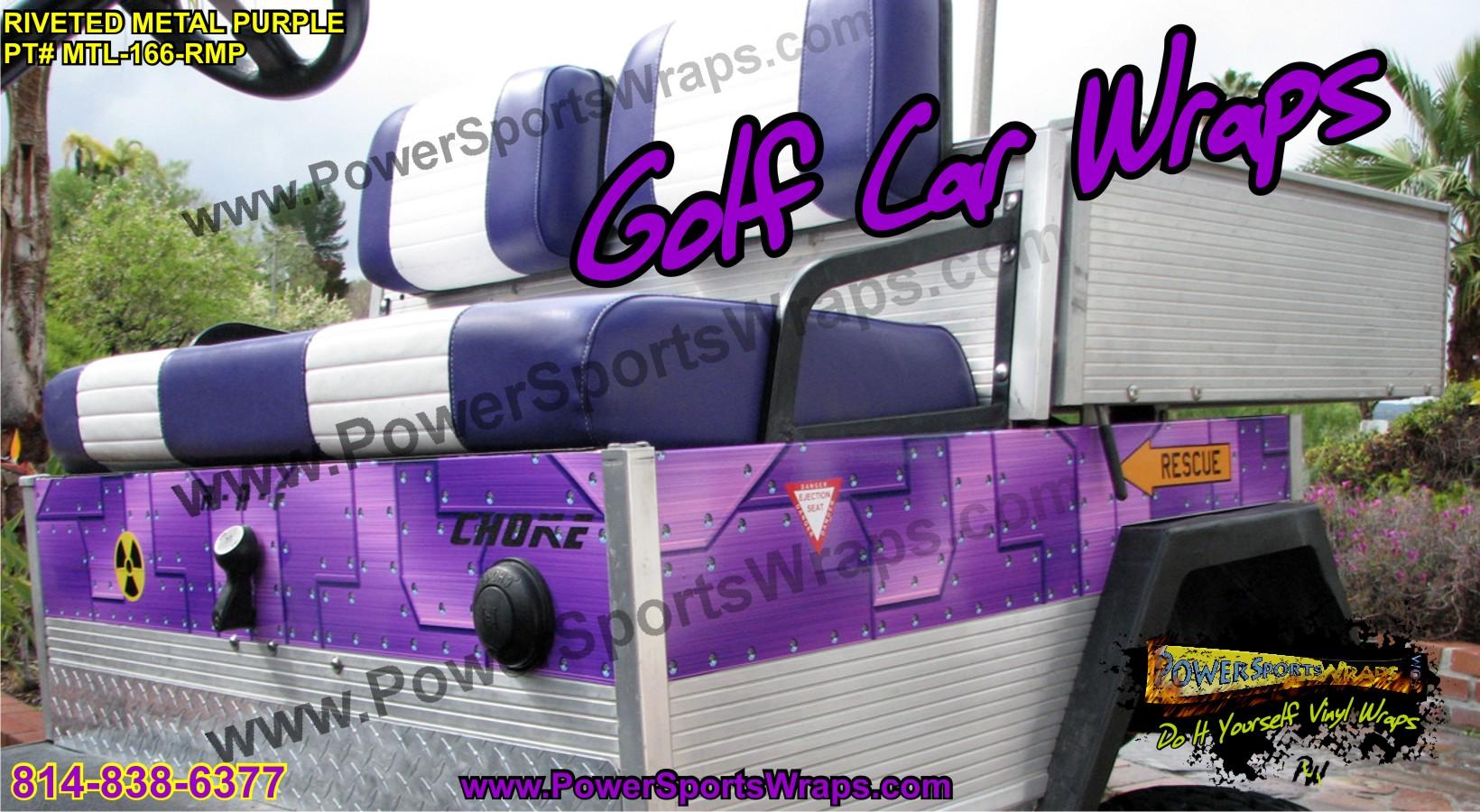 Golf Cart Vinyl Wrap Riveted Metal Purple | Powersportswraps.com Golfcartnames Com on