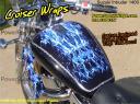 bike wrap, motorcycle decals, Suzuki Intruder, Curiser flames- peel & stick powersportswraps.com