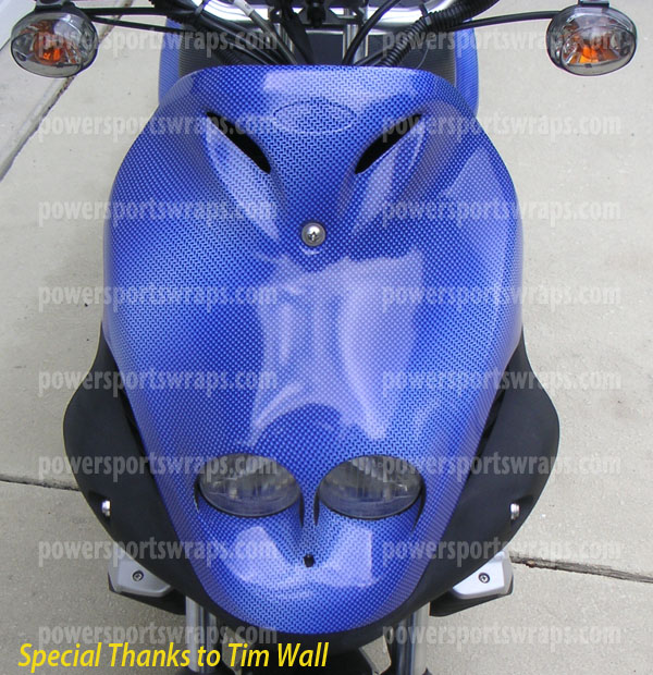 Vinyl wrap carbon fiber blue scooter wraps scooter decals diy wraps