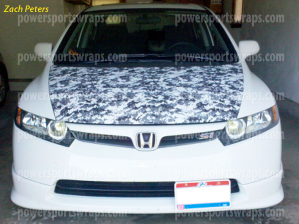 Honda Civic Si Hood Wrap Digital Camo Vinyl Urban