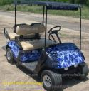 golf car flame wrap, Blue Black flame golf car wrap from powersportswraps.com