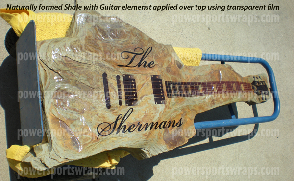 vinyl wrap on a slate stone in the shape of a guitar, peel & stick wraps, do it yourself powersportswraps.com