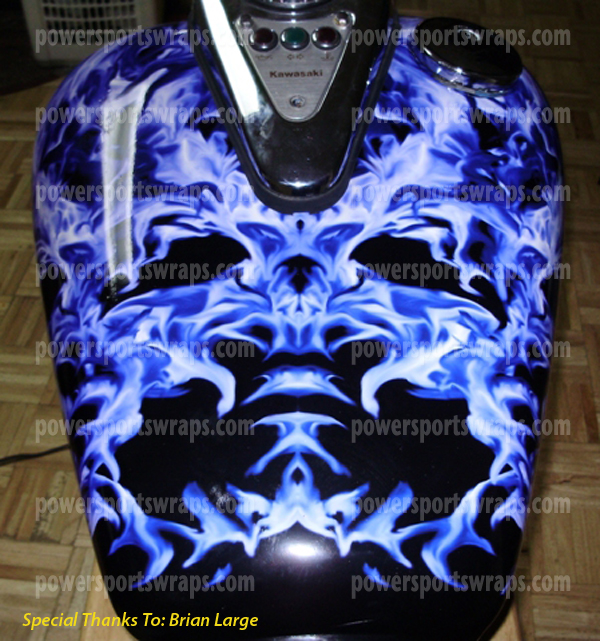 Cruiser Wraps Bike Wraps Blue Black Flame Decals For Motorcycles - Custom vinyl decals motorcycles