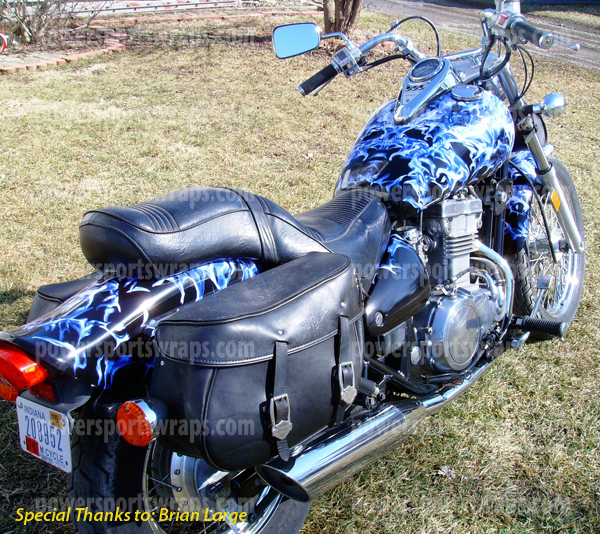 Cruiser Wraps Bike Wraps Blue Black Flame Decals For Motorcycles - Vinyl stickers for motorcyclesmotorcycle graphics motorcycle stickers motorcycle decals
