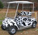 golf cart vinyl wrap in cow print, applied by first time user, Do it yourself wraps from: powersportswraps.com
