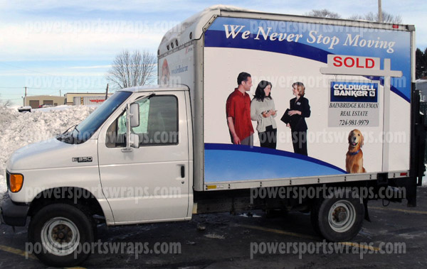 coldwell banker box truck wrap from Meadville PA designed & installed by Powersportswraps.com
