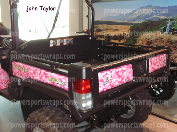 Pink Camo on John Deere Gator, vinyl wrap, Side by Side wrap, Camo film, Pink Camo, 814-838-6377