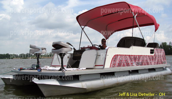 Are you looking to dress up your boat? We have the look for you just peel & stick apply our tough vinyl boat wrapping film. UV protected www.powersportswraps.com