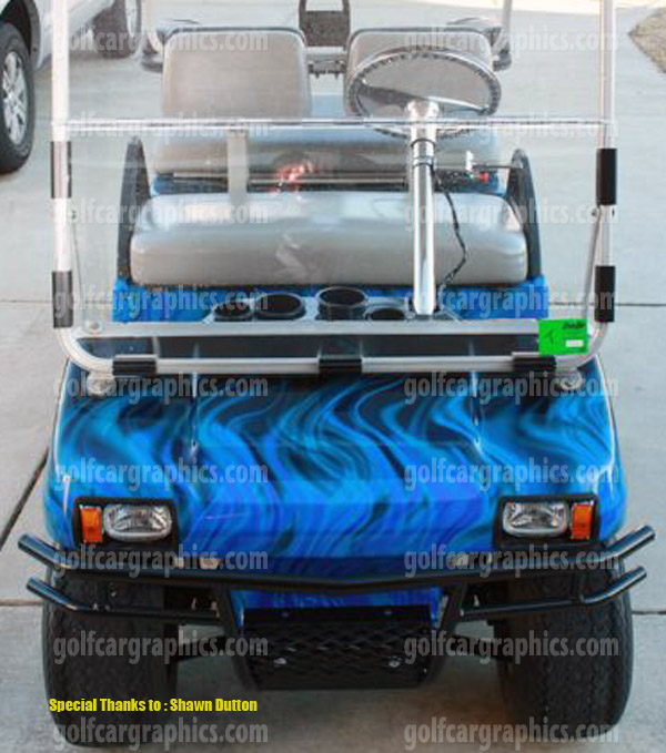 fire blue golf car wrap golf car wraps golf cart wraps true fire vinyl wrap shawn dutton. Black Bedroom Furniture Sets. Home Design Ideas