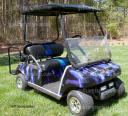 Club Car DS golf cart wrap using Lightning Purple vinyl wrapping film by PowerSportsWraps.com