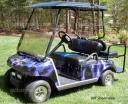 Club Car DS custom golf car wrap in lightning Purple from PowerSportsWraps.com