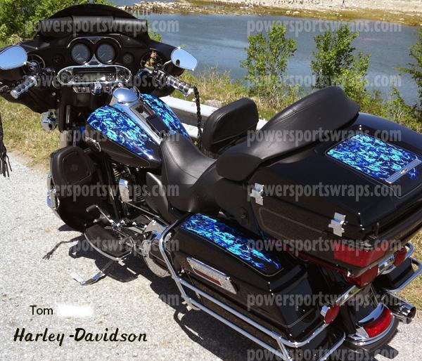 Harley Davidson Bagger Blue Flame Vinyl Wrap Ultra
