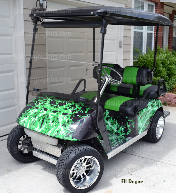 Golf cart graphics archives powersportswraps golf car wraps for all makes flames camo skulls and much more golf cart wrap using slimy green flame kit solutioingenieria Images