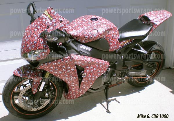 CBR Honda 1000 Bike wrap- smitty skulls by PowerSportsWraps.com
