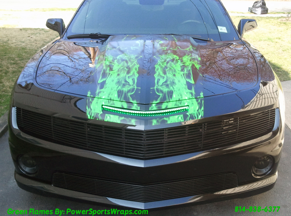 2012 Camaro Ss Racing Stripe Kit Custom Green Flames