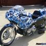 Drag bike vinyl wrap Confusion Blue 303