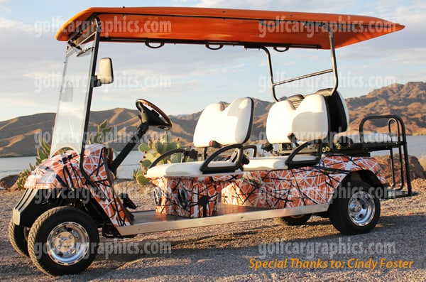6 seat golf cart wrap golf car wraps confusion orange vinyl wrap. Black Bedroom Furniture Sets. Home Design Ideas